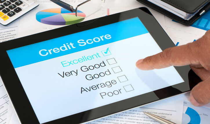 Credit score on a digital tablet